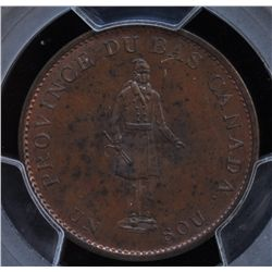 CH LC-8C1 - BR 522, 1837 Lower Canada Agriculture Half Penny Token, PCGS MS64 RB. Ex:Temple.