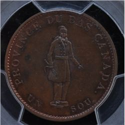 CH LC-8D1 - BR 522, 1837 Lower Canada Agriculture Half Penny Token, PCGS MS64 RB. Ex:Temple.
