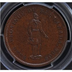 CH LC-9A1 - BR 521, 1837 Lower Canada Agriculture One Penny Token, PCGS MS64 BN. Ex:Temple.