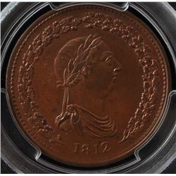 CH LC-47B1 - BR 958, 1812 Lower Canada One Penny Token, PCGS MS63 BN. Ex:Temple.