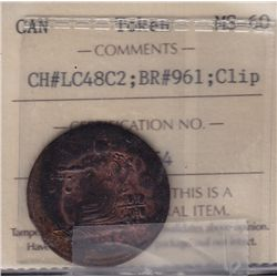 CH LC-48C2 - BR 961, 1812 Lower Canada Token, Clipped planchet. ICCS MS-60.