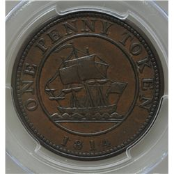 CH LC-52 - BR 989, 1814 Lower Canada One Penny Token, PCGS AU53. Ex:Temple.