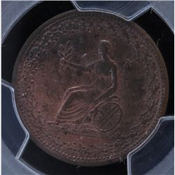 CH LC-54D2 - BR 994, 1815 Lower Canada Half Penny Token,  PCGS MS63RB. Ex:Temple.