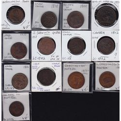 Lot of 13 Lower, Upper Canada & Wellington Tokens - CH LC-5A3 EF; CH LC-19A2 VG; CH LC-28 Fine; CH L