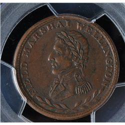 CH WE-2B4 - BR 972, Wellington Lower Canada Half Penny Token, PCGS AU50. Ex:Temple.