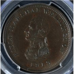 CH WE-3 - BR 974, 1813 Wellington Lower Canada One Penny Token, PCGS AU50. Ex:Temple.