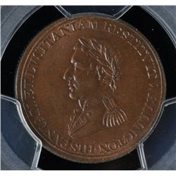 CH WE-11A1 - BR 987, Wellington Lower Canada Half Penny Token (c.1812), PCGS MS64 RB. Ex:Temple.