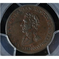 CH WE-11B6 - BR 986, Wellington Lower Canada Half Penny Token (c.1812), PCGS AU53. Ex:Temple.
