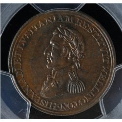 CH WE-11C1 - BR 986, Wellington Lower Canada Half Penny Token (c.1813), PCGS MS63 BN. Ex:Temple.