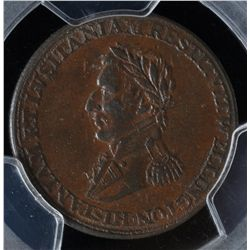 CH WE-11D2 - BR 988, Wellington Lower Canada Half Penny Token (c.1813), PCGS AU53. Ex:Temple.