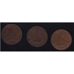 "CH UC-10 Lot of Three Commercial Change Tokens - BR 728, 1821 ""Upper Canada"", 2 damaged, one VF. 3 P"
