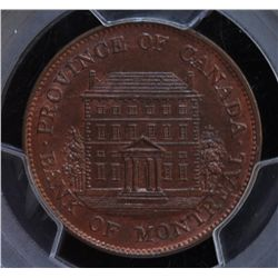 CH PC-1B4 - BR 527, 1844 Province of Canada Half Penny Token, PCGS MS65 RB. Ex:Temple.