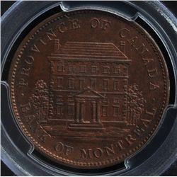 CH PC-2A1 - BR 526, 1837 / 1842 Province of Canada Mule One Penny, PCGS MS63RB Ex:Temple.