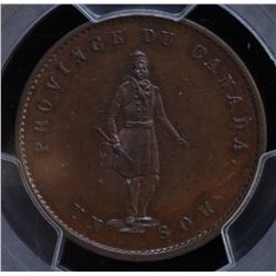 CH PC-3 - BR 529, 1852 Province of Canada Half Penny Token, PCGS MS64 BN. Ex:Temple.