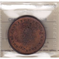 CH PC-4  - BR 528, 1852 Quebec Bank Deux Sous Token. ICCS MS-60.