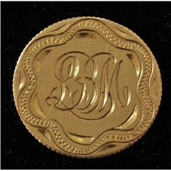 Newfoundland Gold Love Token Pin -  LBM  Engraved on a Newfoundland two dollar coin, Scarce.