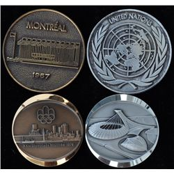 Lot of Four Montreal Olympic & Centennial Medals - 1967 Montreal United Nations - wm and bronze. 197