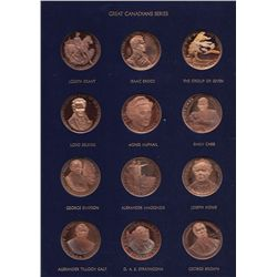 The Great Canadians Medallions - Struck by the Wellings Mint, in original folder, includes 24 Bronze