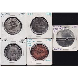 Lot of 5 Atlantic Provinces Numismatic Association Medals - 1984 Fredericton, Pewter; 1985 Halifax C