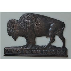 1934 Canada National Park Pass Buffalo License Plate Topper - This item measures approx. 4 inches lo