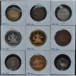 Lot of 9 Centennial Medals  - Includes: 8 Calgary (CAL-1a,b, 2b, 3a,b,c,4a, 5a)  and one Banff (BAN-