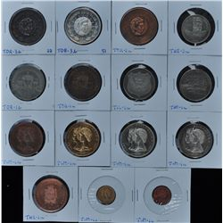 Lot of 15 Centennial Medals - Includes: Thetford Mines 2 diff. (THE-1a, 3a), Thompson Nickel Mine (T