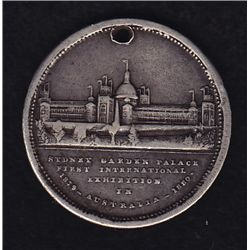 Sydney International Exhibition 1879 - A neat medalet, Obv. BLDG (Sydney Garden Palace)/Crest. White