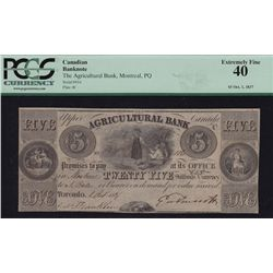 1837 Agricultural Bank $5 - CH 20-12-04-08 PCGS EF40. S/N:816/C.