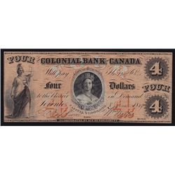1859 Colonial Bank of Canada $4 - CH 130-10-02-08 Two signatures. EF. S/N:1307/B.