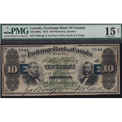 1872 Exchange Bank of Canada $10 - CH 245-10-08a EE Over print. PMG Choice Fine 15. S/N:7846/A.