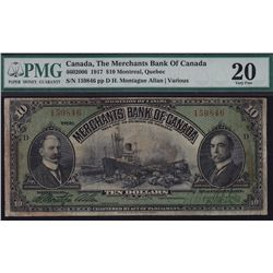 1917 Merchants Bank of Canada  - CH 460-20-06 Attractive steamship and train at dock vignette. PMG 2