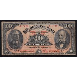1918 Molsons Bank $10 - CH 490-38-04a Nice bright fine, pressed. 15 on the register with 2 of them i