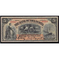 1898 Bank of Nova Scotia $5 - CH 550-28-06 VF. Only 12 on the register. S/N:668962/A.
