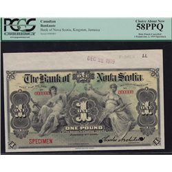 1919 Bank of Nova Scotia One Pound Specimen  - CH 550-38-02-04 PCGS Choice About New 58 PPQ. No issu