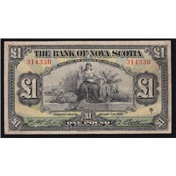 1930 Bank of Nova Scotia £1 - CH 550-38-04-04 Fine, pressed. 29 on the register with two of these in