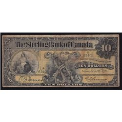 1906 Sterling Bank of Canada $10 - CH 700-10-04 Fine. Rare, 18 known on register. S/N:67408/A.