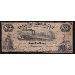 1866 Summerside Bank $4 - CH 705-10-06 Fine. Unique - the only known surviving note, anywhere.  Supe