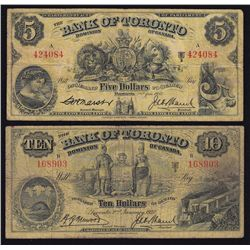 Lot of Two 1937 Bank of Toronto $5 & $10 - Lot includes: CH 715-24-06 Fine, 424084/A. CH 715-24-10 F