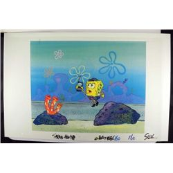 Orig SpongeBob Production Cel & Background Monitor Run