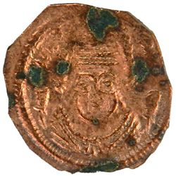ARAB-SASANIAN: al-Muhallab b. Abi Sufra, ca. 694-698, AE pashiz (0.55g), NM, ND