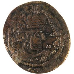ARAB-SASANIAN: Anonymous, ca. 680-700, AE pashiz (1.21g), NM, ND