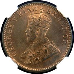 BRITISH INDIA: George V, 1910-1936, AE 1/4 anna, 1913 (c)