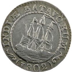 NETHERLANDS EAST INDIES: AR 1/8 gulden, 1802