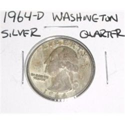 1964-D Washington SILVER Quarter *PLEASE LOOK AT PICTURE TO DETERMINE GRADE - NICE COIN*!!