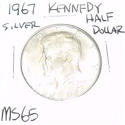 1967 Kennedy SILVER Half Dollar *RARE MS-65 HIGH GRADE - NICE COIN*!!