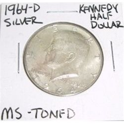 1964-D Kennedy SILVER Half Dollar *RARE TONED MS HIGH GRADE - NICE COIN*!!