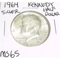 1964-D Kennedy SILVER Half Dollar *RARE MS-65 HIGH GRADE - NICE COIN*!!