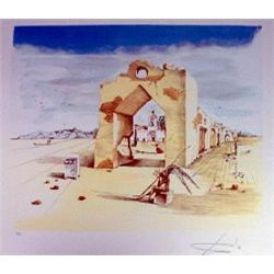 Dali  Paranoiac Village  Limited Edition Lithograph W/Coa, 33 x22.5 