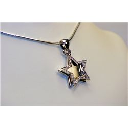 Lady's Beautiful Star Sterling White Diamond Pendant