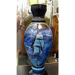 Galle Signed Blue Nautical Vase